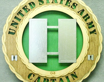 """Custom 12"""" Wood US Army Captain Wall Tribute - FREE SHIPPING"""