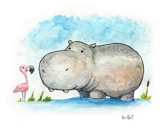 A Little Hippo Watercolor Print