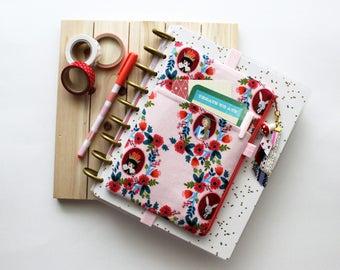 Alice in Wonderland pocket planner pouch - pink planner cover - planner accessories -  zipper pouch - EXCLUSIVE ribbon tassel planner case