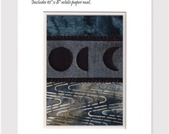 Mini Quilt Art Collage Moon Phases Water Blue Black Ready to Frame