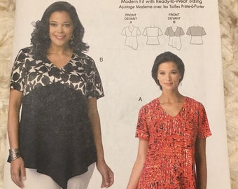 Butterick #6187 Misses' Top Fashion sewing pattern Size xxl 1x 2x 3x 4x 5x 6x UC Uncut FF