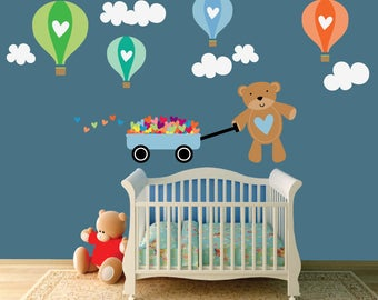 Kids Teddy Bear Wall Decal, Hot Air Balloon Wall Decals, Reusable FABRIC WALL DECAL Non-toxic, SD09B