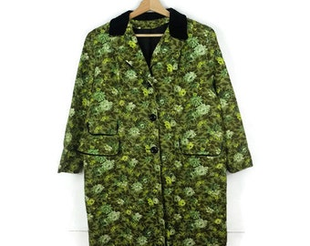 reserved Vintage Green Floral Printed Cotton Swing coat /Spring coat from 1960's/Velour collared