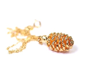 Pinecone necklace - gold dipped pinecone necklace - nature necklace - a gold plated real pinecone on a 14k gold vermeil chain