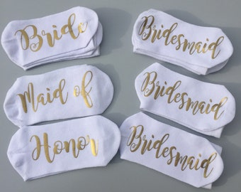 Bride socks, bridesmaid socks, white socks ,wedding socks, wedding gift, bride gift, bridesmaid gift, will you be my bridesmaid, sole socks