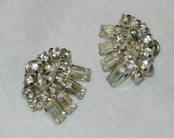 Vintage Earrings with Crystal Rhinestones - Clip Ons