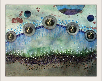 Original Mixed Media/Collage Painting Framed