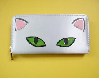 Silver Cat Satin Zip around Wallet