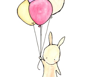 Bunny Sweetie -- archival print, Baby nursery print, childrens art print, kids room decor, kids wall art, child decor, baby art