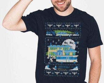 """Griswold / Christmas Vacation """"Hallelujah, Holy Shirt!"""" faux ugly sweater t-shirt"""