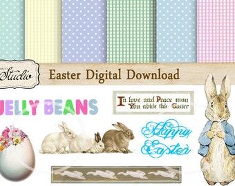 Easter Scrapbook Paper, Digital Clip Art Pack, Instant Download printable Papers, digital collage, Craft Supplies, DIY Easter, gingham paper