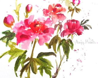 Peony Watercolor Art, Original Art, Original Painting, Watercolor Flowers, Gift For Her, Valentines Day Gift, Valentines Day Decor