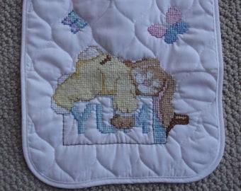 Cross Stitch baby bib, YUM/sleeping bunny, Easter, Spring,Rabbit,