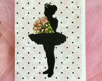 Handmade Ballerina Tutu Card, ballet recital bouquet on patterned background
