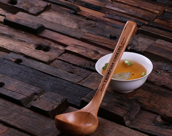 Engraved Wooden Bamboo Soup Spoon Monogrammed Personalized Soup Ladle House Warming Kitchen Gift (024338)