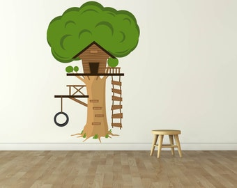 Children's tree decal- Treehouse decal- Swing decal- Vinyl wall tree decal