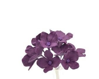 12 Hydrangea Gumpaste Sugar Flowers in Purple for Wedding and Bridal Shower Cake Topper, DIY brides, sugar flower arrangement, filler flower