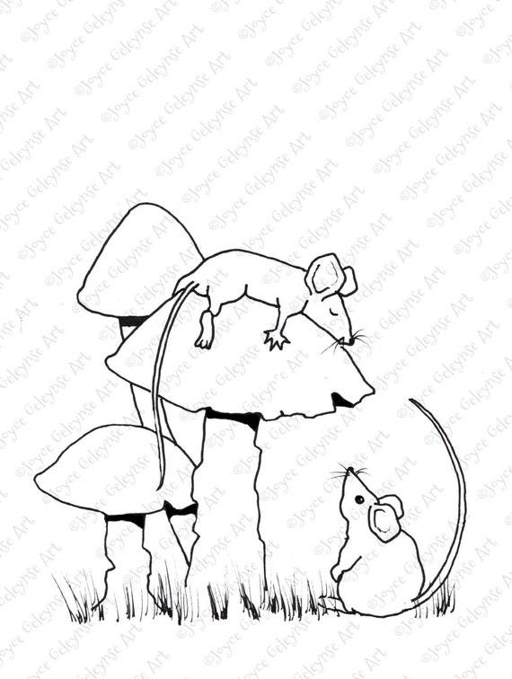Durmiendo ratón para colorear para adultos ratones y setas