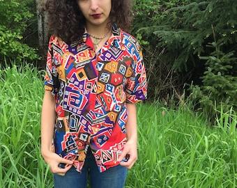100% Silk 80's Colorful Geometric Shirt