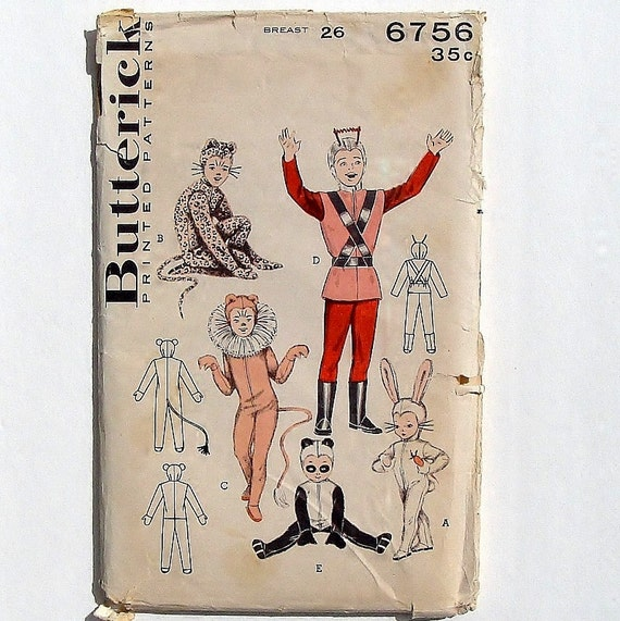 Vintage 50\'s Butterick Child\'s Halloween Costume Sewing Pattern ...
