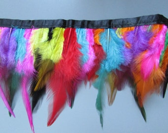 Top Quality Multicoloured Hackle Feather Fringe sold by the metre for sewing costume millinery