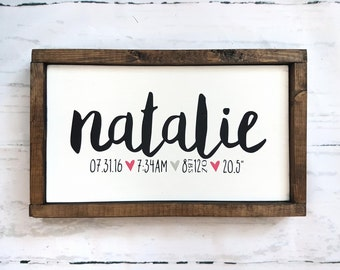 Birth Stat Sign- Nursery Decor- Wood signs- Baby gift- Newborn gift- Modern decor- Birth records gift- Baby shower gift- Home decor