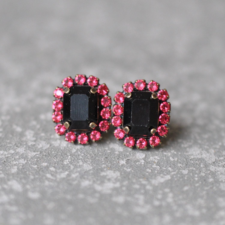 Raspberry Pink Emerald Cut Earrings Swarovski Crystal Studs