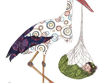Stork and Baby print, baby wall art, Baby Gift, baby shower, baby nursery, stork, newborn, art print