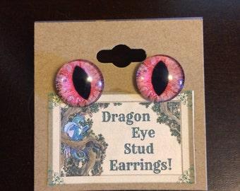 Pink Dragon/cat Eye Stud Earrings