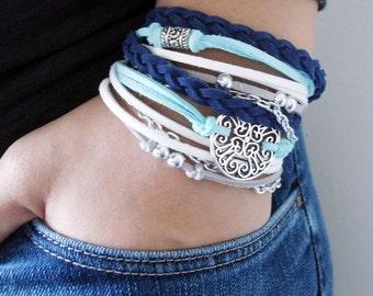 Blue Bohemian Wrap Bracelet, Bohemian Jewelry, Bohemian Bracelet, Stacked Bracelet, Boho Wrap Bracelet, Handmade Jewelry, Leather Bracelet