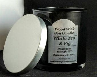 White Tea & Fig - Wood Wick Soy candle - Silver Lid - reusable black tumbler glass