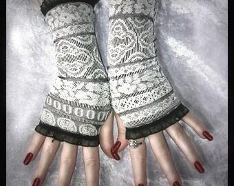 Emmaline's Enchanting Fingerless Gloves - Silver Grey White - Black - Lolita Gothic Victorian Vampire Wedding Dark Tribal Belly Dance Goth