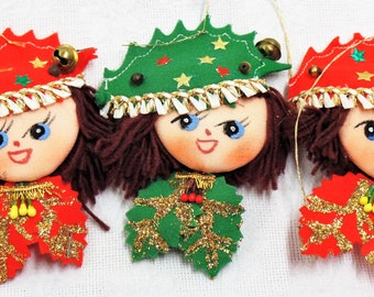Vintage Set of 3 Christmas Ornaments
