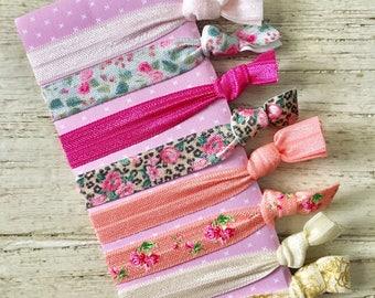Set of 8 Elastic Hair Ties, Girl, Adult, Hair bands, Pink, Coral, Floral