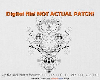 INSTANT DOWNLOAD - Patterned Owl machine embroidery design. Bird embroidery design. Embroidery file