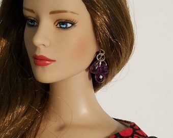 Genuine Purple Amethyst Cluster Teardrop Earrings for 16 Inch Dolls Like Ellowyne Wilde and Tonner Tyler