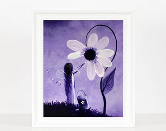 Making Her Day Even More Beautiful, fairy art print, fairy art, purple, bright and colorful art, art, artist, faery, whimsical, modern