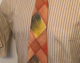 Vintage MENS Art Way Cravats brown, yellow, green and rust plaid rockabilly or swing tie, circa 40s-50s
