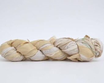 Ivory Sari Silk Ribbon - Dyeable Yarn - 100 Gram Skein (3.5oz)