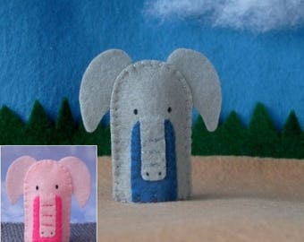 Elephant Finger Puppet - Grey or Pink - Elephant Puppet - Felt Animal Finger Puppet - Felt Puppet Elephant Pachyderm