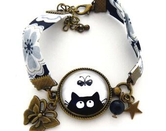 Bracelet liberty black and white illustration of black cat