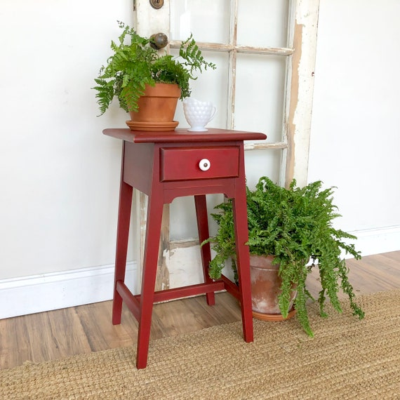 Red End Table - Antique Side Table - Farmhouse Furniture - Small Bedside Table - Nightstand Table - Distressed Nightstand