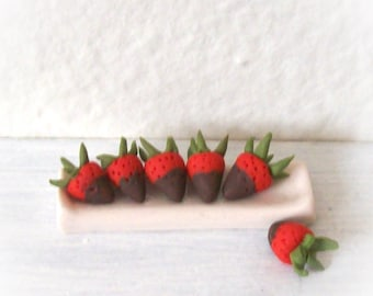 Six Strawberries Chocolate Dipped on a Long Shiny White Tray Hand Sculpted Tiny 1:12 Dollhouse Deliciousness