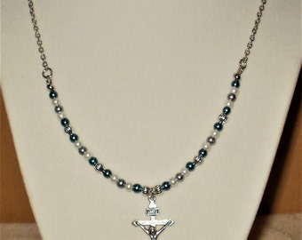 Teal & Silver Crucifix Necklace