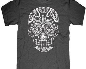 Mens Skull T shirt Day of the Dead t shirt