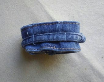 Upcycled Denim Watchband with Elastic Tie