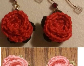 Crocheted Rose / Flower Earrings *pierced*