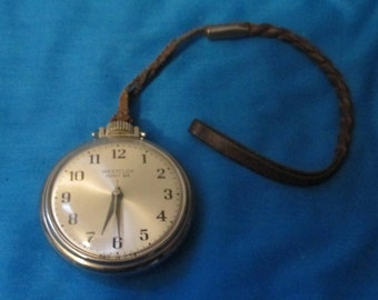 "Vintage Pocket Watch, by Westclox  Vintage ""Pocket Ben""  Pocket Watch  Mint Working Condition, Original Watch Fob Made in USA 1970's"