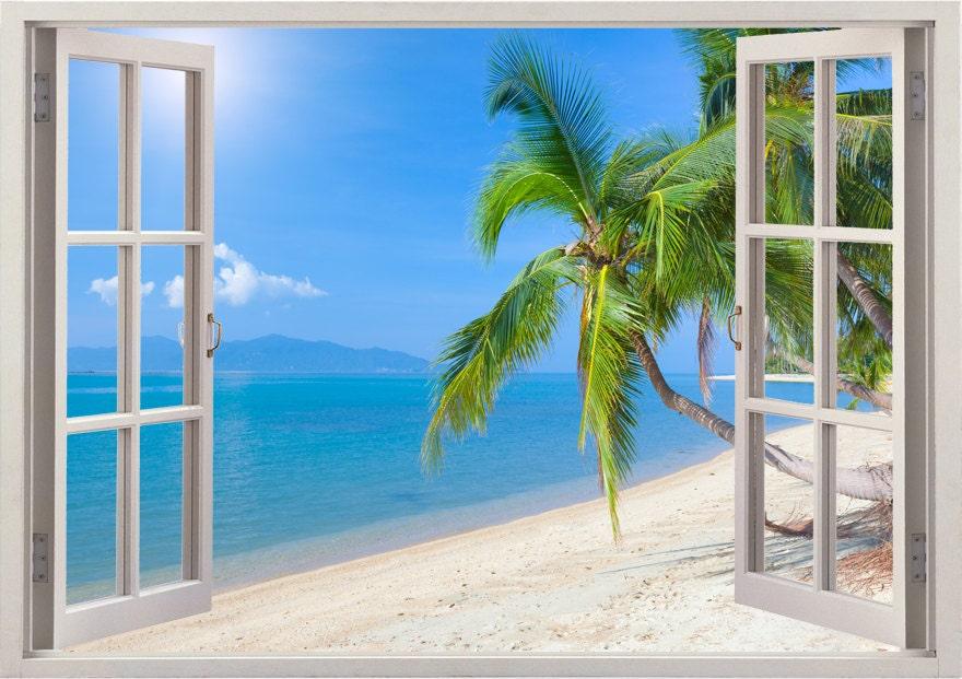 Beach wall decal 3D window tropical beach coconut palm tree