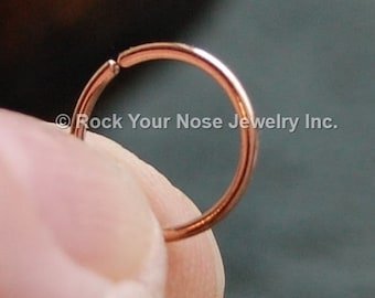 Rose Gold Filled Nose Ring/Dainty Nose Ring /Thin Gold Nose Ring/24G/22G/20G/18G/Dainty Nose Hoop/ - CUSTOMIZE